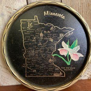 Vintage Wall Art - Minnesota Round Metal Serving Tray Landmarks